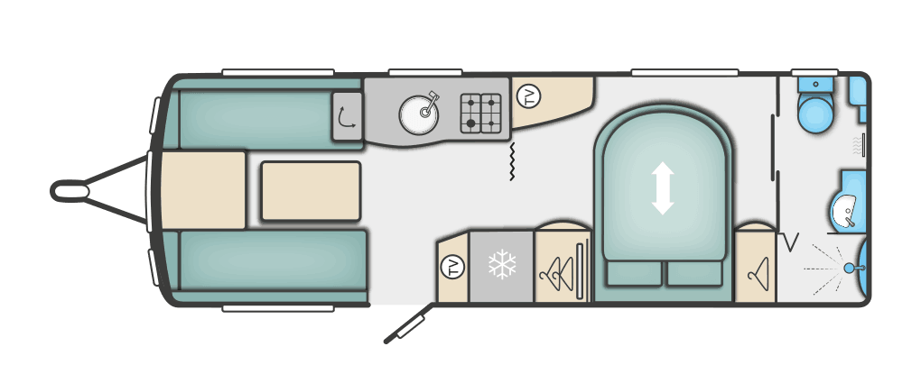 this is a picture of the floor plan of a swift touring caravan that is for sale