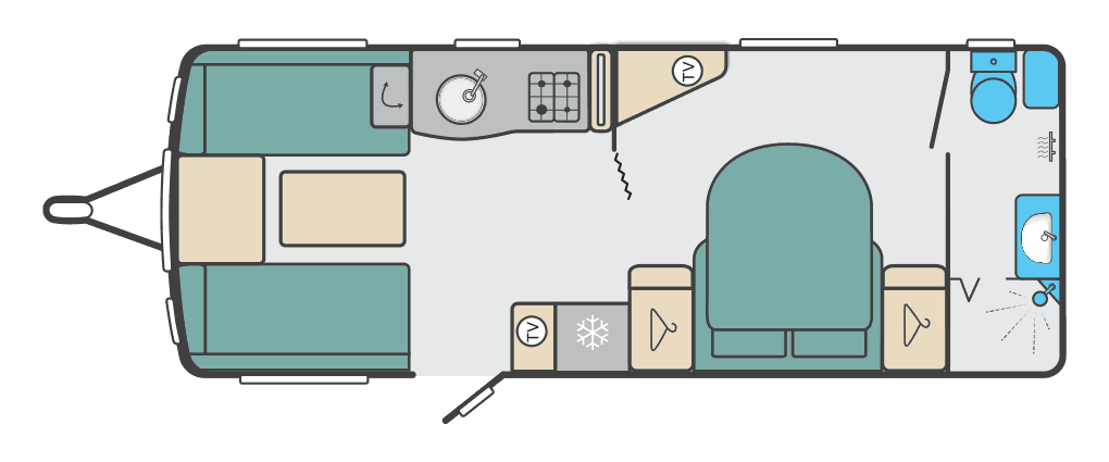 picture of a new caravan with the floor plan son show