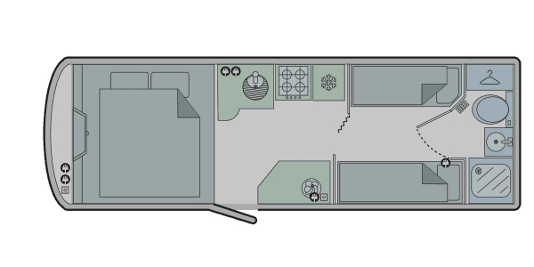 to show the floor plan of a touring caravan